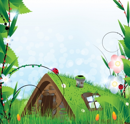 Small  house with a sod roof on a meadow with blooming tulips Vector