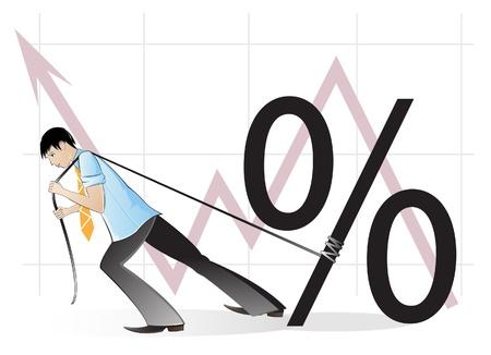 Businessman pulling percent sign  Conceptual vector illustration Stock Vector - 18592280