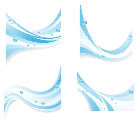 purified water: Blue water waves with transparent bubbles  Abstract design elements