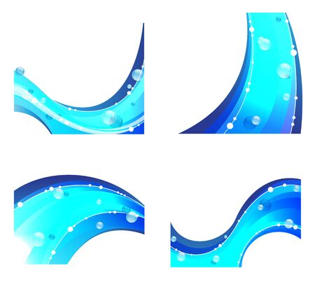 Blue waves elements. Abstract water compositions on a white background Vector