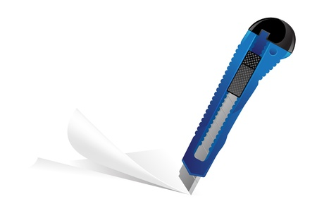 Blue Stationery knife cuts the sheet of paper
