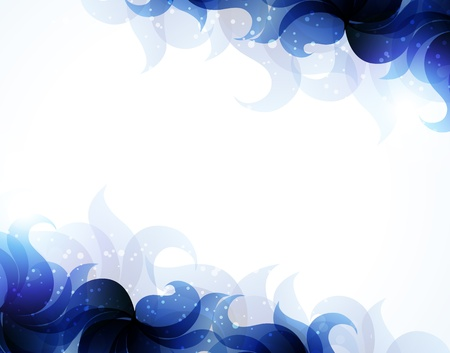 Transparent blue petals on a white background. Abstract background with place for text  Stock Vector - 18592321