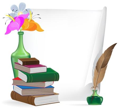 古書、羽、インク、紙の白いシートの花
