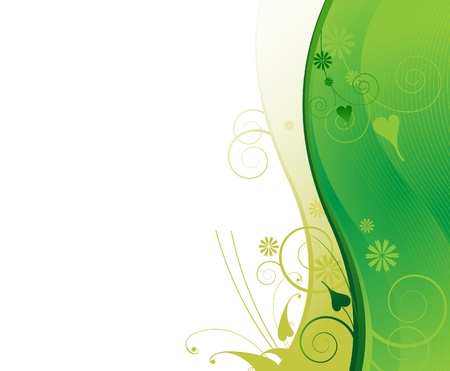 green flower:  Green floral background  Frame for headers and titles  Illustration