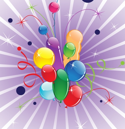 Flight of colorful balloons and fireworks Vector