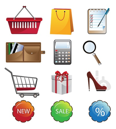 Bright shopping icon set  Isolated objects on a white background Stock Vector - 18592291