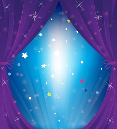 輝くの劇場の幕漫画背景