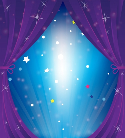 Sparkling theater curtain  Cartoon background Stock Vector - 18592325