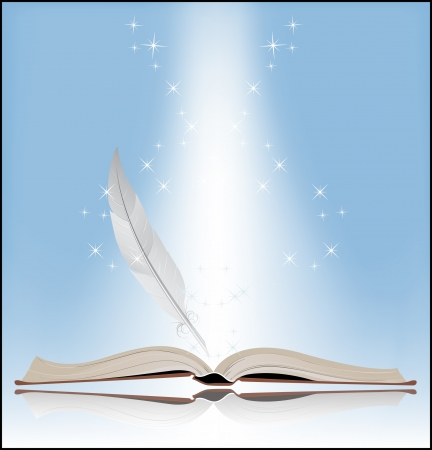 Book on a blue background  Symbol of Knowledge