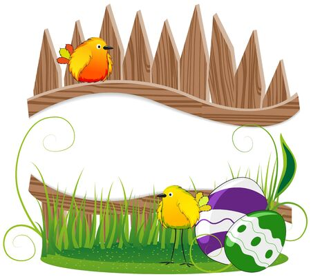 Funny birds with Easter eggs on the background of the wooden fence Stock Vector - 18879985