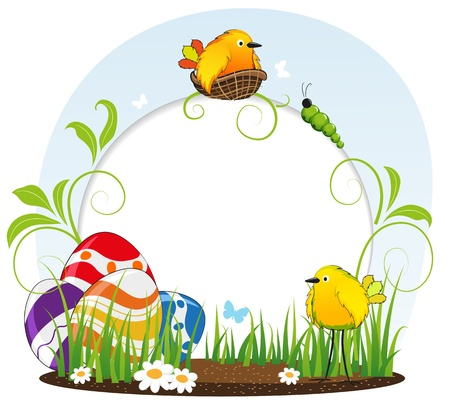 Funny birds and Easter eggs on floral  background Stock Vector - 18879978