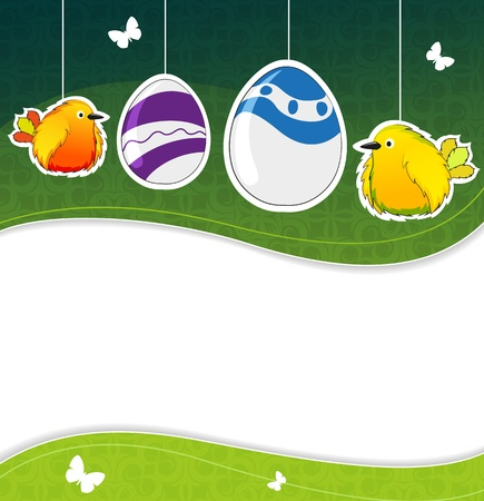 Funny birds and Easter eggs on green waivy  background Stock Vector - 18880014