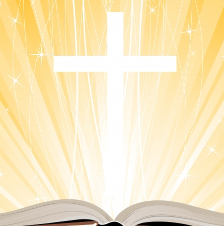 gospel:  Holy Book, Cross and Lights