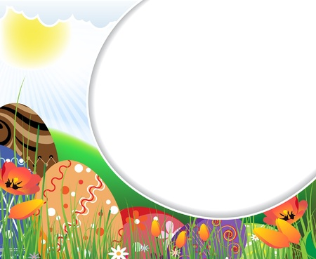 Huge colored eggs on the sunny meadow. Easter frame.