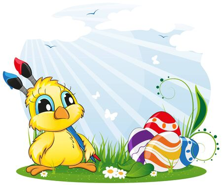 Cartoon chicken with paintbrushes and Easter eggs on spring meadow Stock Vector - 18879979