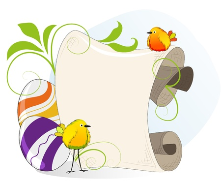 Bright little birds and Easter eggs on the background of parchment Stock Vector - 18879976
