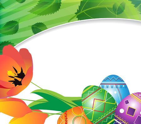 Painted eggs and a bouquet of tulips  Easter background  Stock Vector - 18880004