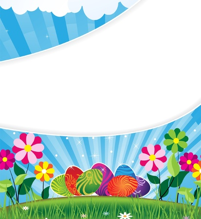 Easter eggs with an abstract pattern on sunny flowering meadow