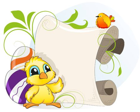 Cartoon chicken and little bird on a background of Easter eggs and parchment Vector