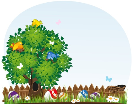 Easter eggs in the grass under a tree with birds Stock Vector - 18880017