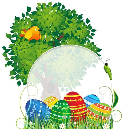 Easter eggs in the grass under a tree with birds  Abstract cartoon illustration with place for text Stock Vector - 18880038