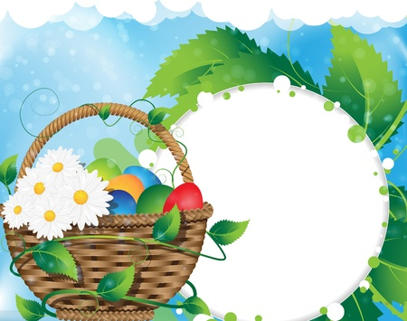 Basket with Easter eggs and wild flowers on a clear sky background Vector