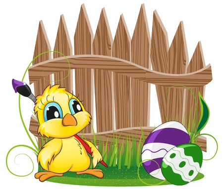 Cartoon chicken with Easter eggs on the background of the wooden fence Stock Vector - 18879981