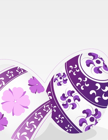 Easter eggs with lilac floral pattern on a gray background Stock Vector - 19086898