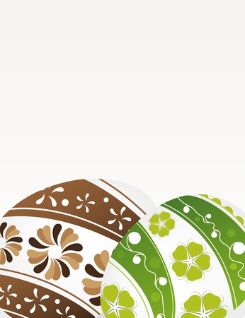 Green and brown Easter eggs with floral pattern on a gray background Stock Vector - 19086899