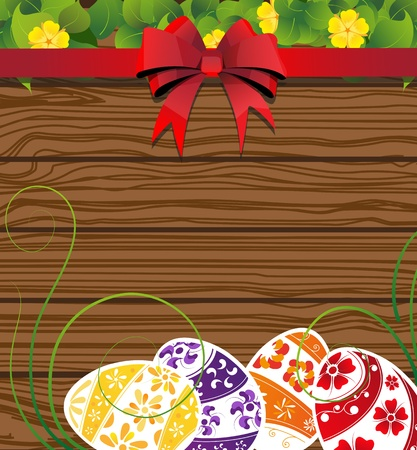 Easter eggs on the wooden fence background with  bow and flowers Stock Vector - 19086979