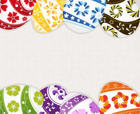 Easter eggs with floral pattern on a beige background Stock Vector - 19086995