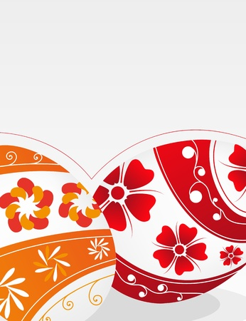 Red and orange Easter eggs with floral pattern on a gray background Stock Vector - 19086897