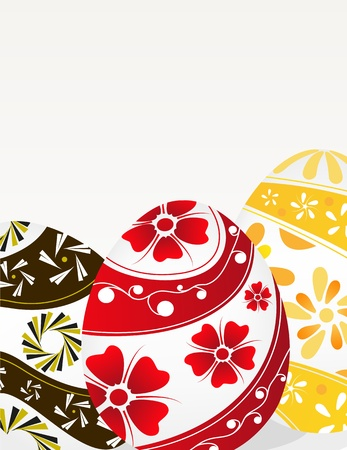Red, yellow and brown Easter eggs with floral pattern on a gray background Stock Vector - 19086900
