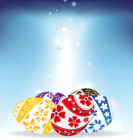 Easter eggs with bright floral pattern on blue shining background Stock Vector - 19086906