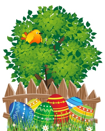 Easter eggs in the grass under a tree with bird Stock Vector - 19086999