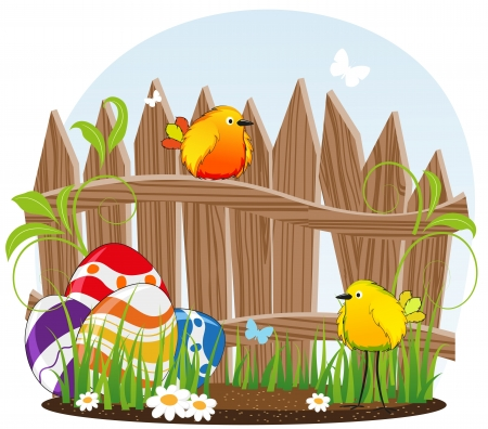 Funny birds with Easter eggs on the background of the wooden fence Stock Vector - 19086912