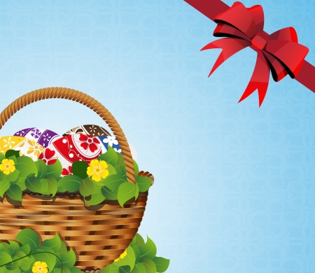 Basket with Easter eggs and bow on a blue background Stock Vector - 19086948