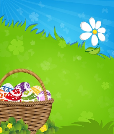 Easter basket with painted eggs  on a green meadow Vector