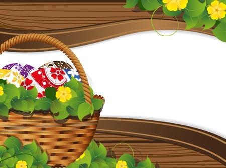 Easter Basket on the wooden fence background with place for text  Vector