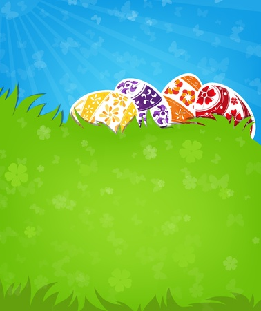 Painted Easter eggs on a green meadow Vector