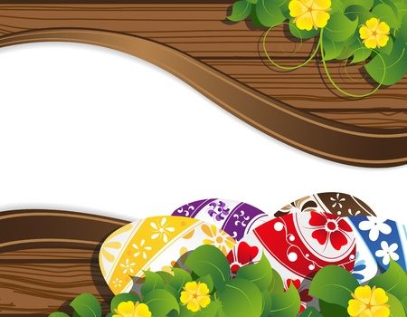 Easter eggs on the wooden fence background with place for text Stock Vector - 19086975