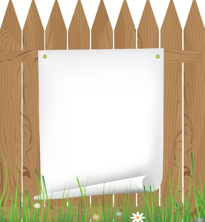 Rough sheet of paper on a wooden fence Vector