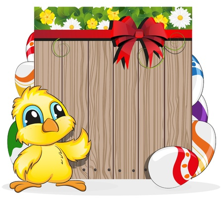 Chicken and Easter eggs on the wooden fence background Stock Vector - 19087001