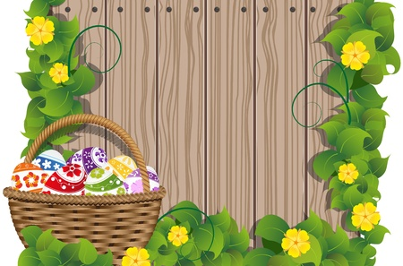 Basket with Easter eggs on the wooden fence background Stock Vector - 19087029