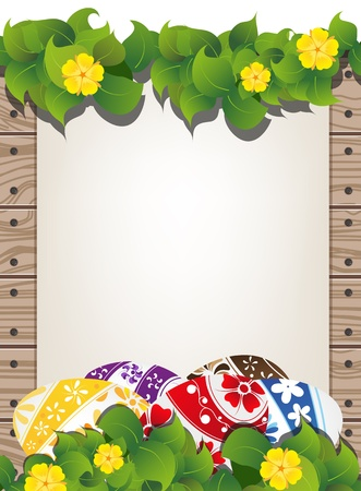 Painted eggs on the wooden fence background with sheet of paper and flowers Stock Vector - 19086986