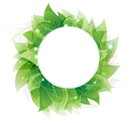 Lush foliage on a white background. Abstract round frame with place for text