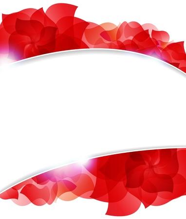 白い背景上の透明な赤い花びら。テキストのための場所で抽象的なフレーム