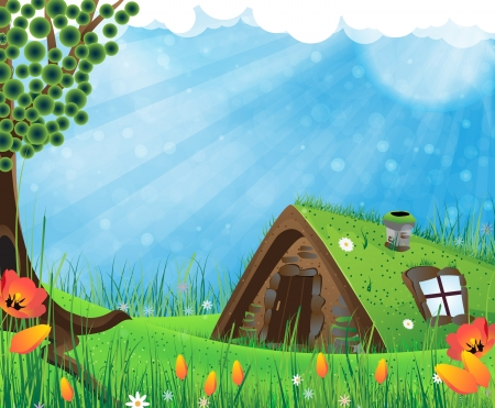 Fantasy house with a sod roof on a meadow with blooming tulips Vector