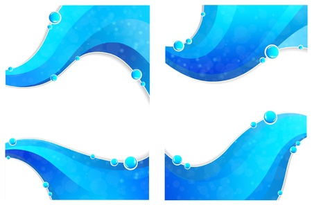 Blue water waves elements with bubbles  on a white background Vector