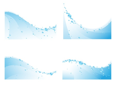 Water waves with bubbles  on a white background Vector